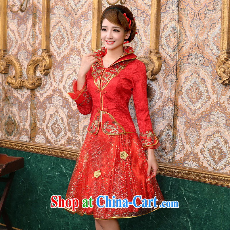 A good service is 2015 new spring and summer red bridal wedding dress Chinese long-sleeved dresses toast 9 serving the cuff, lantern skirt XL