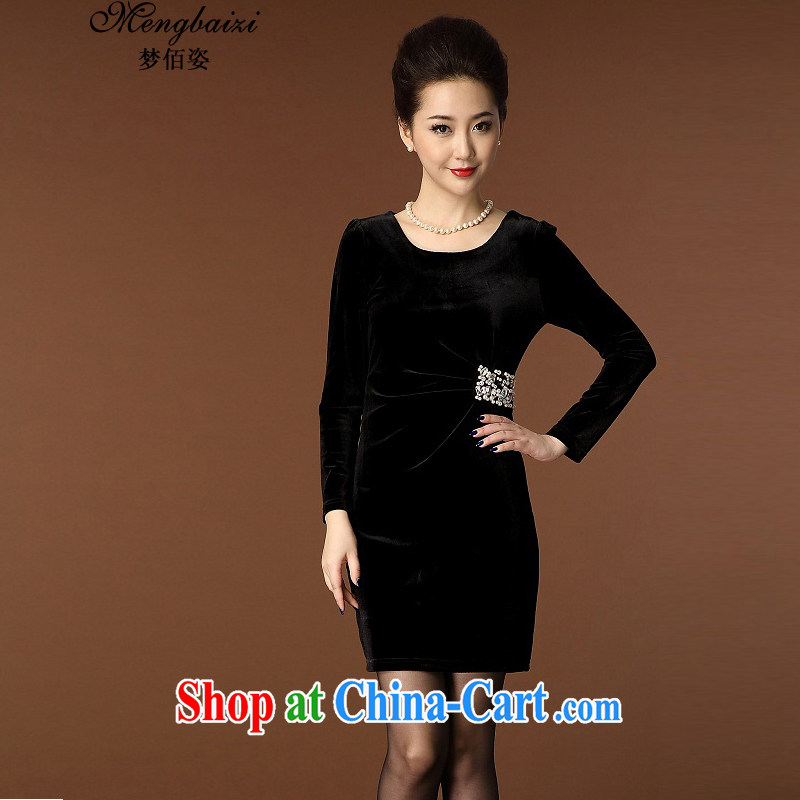 Let Bai colorful 2015 new mom decorated solid body style staple-ju Kim velvet dress QP 937 #black XXXL