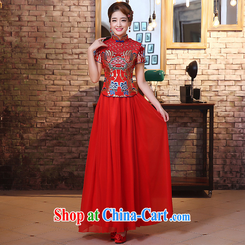 The United States and the dresses 2015 new marriages long red toast serving retro improved Openwork lace stitching Chinese Dress Q 0027 red XXL