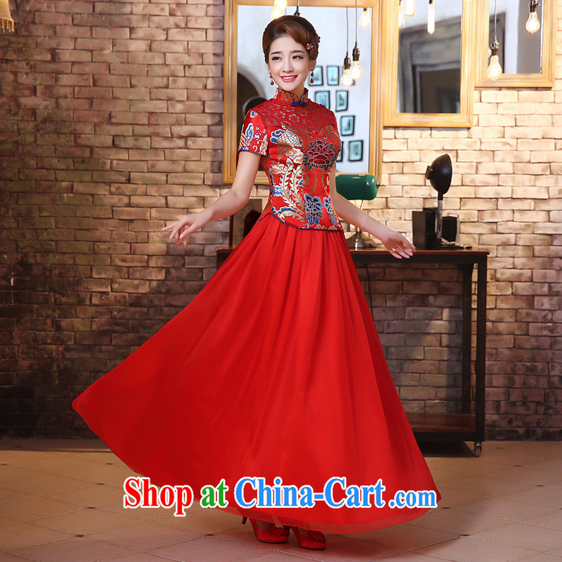 The United States and the dresses 2015 new marriages, long red toast serving retro improved Openwork lace stitching Chinese Dress Q 0027 red XXL, the United States, Nokia (Imeinuo), online shopping