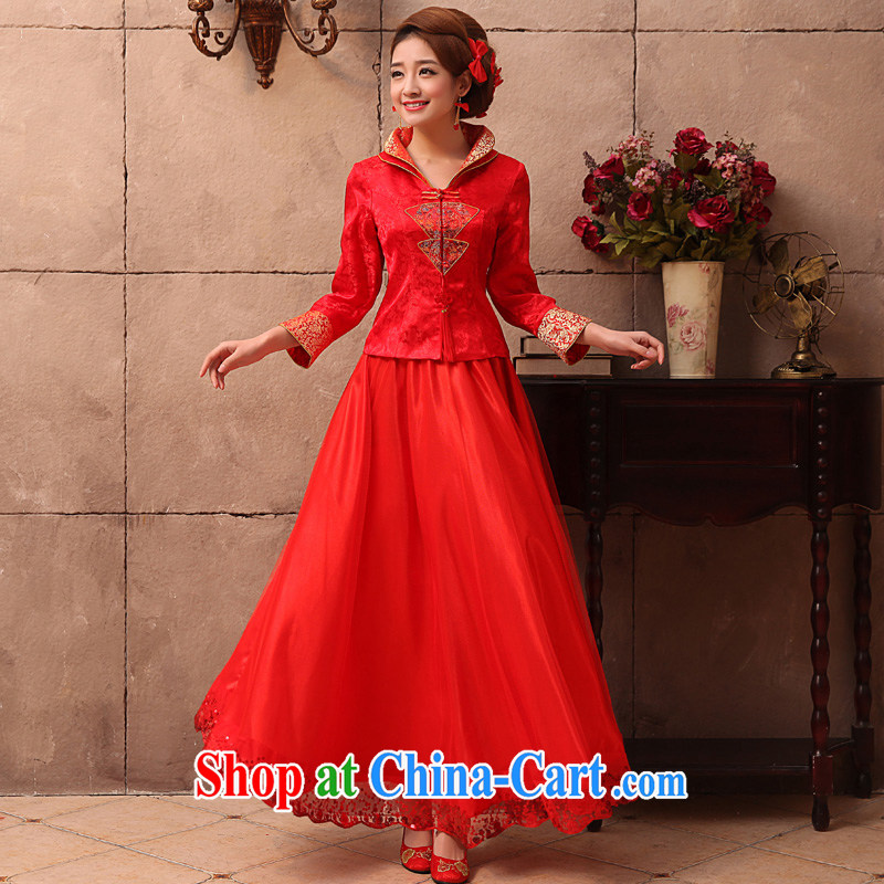 A good service is 2015 new spring and summer red Chinese married Yi bridal wedding dress long-sleeved dresses toast 9 serving a long sleeved dress L