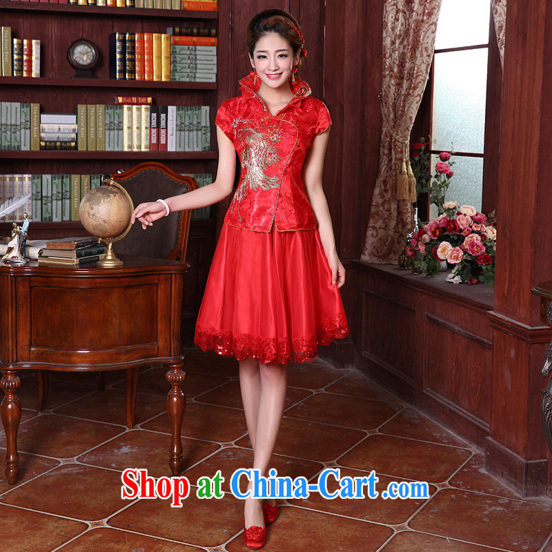 A good service is 2015 New red autumn and winter brides with wedding dress Chinese Xiao Fengxian cheongsam toast serving short skirts short dress 4 XL
