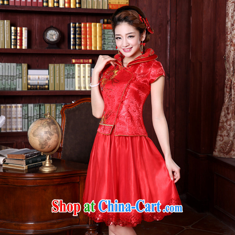 A good service is a 2015 new spring and summer red bridal wedding dress Chinese long-sleeved robes bows serving short-sleeved short dress 4 XL