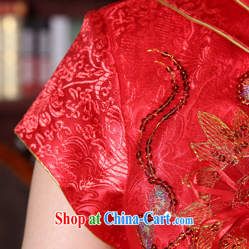 A good service is 2015 new spring and summer red bridal wedding dress Chinese long-sleeved robes bows serving short-sleeved short dress 4 XL, serving a good solid, shopping on the Internet