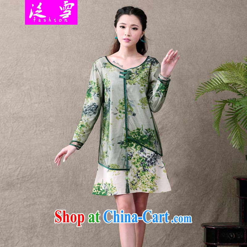Snow and Ethnic Wind long-sleeved dresses leave of two new Chinese winds, stylish dresses, cotton clothes the simple sum women ethnic wind 613 green XXL
