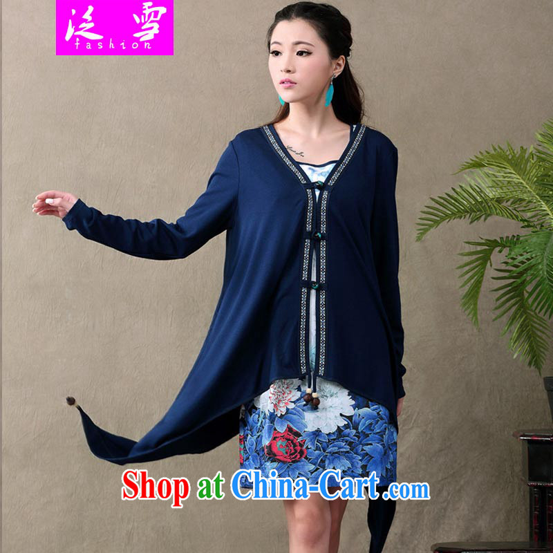 Snow and Ethnic Wind dresses new retro dresses Web yarn stamp long-sleeved dress two-piece female simple sum female ethnic wind 612 blue XXL