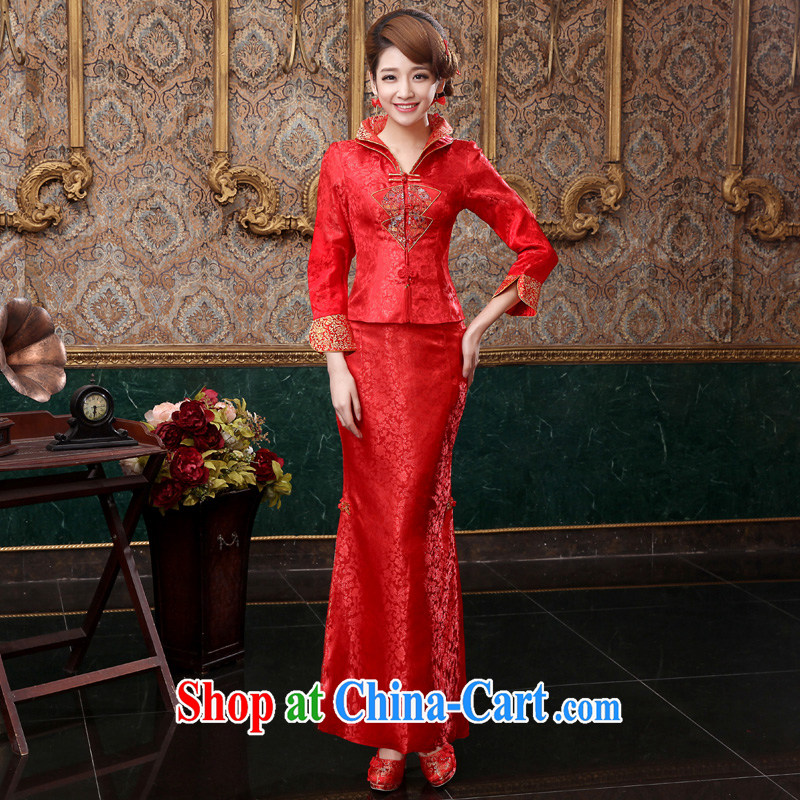 A good service is 2015 new spring and summer red bridal wedding dress Chinese long-sleeved dresses toast 9 serving the cuff, Long skirts S