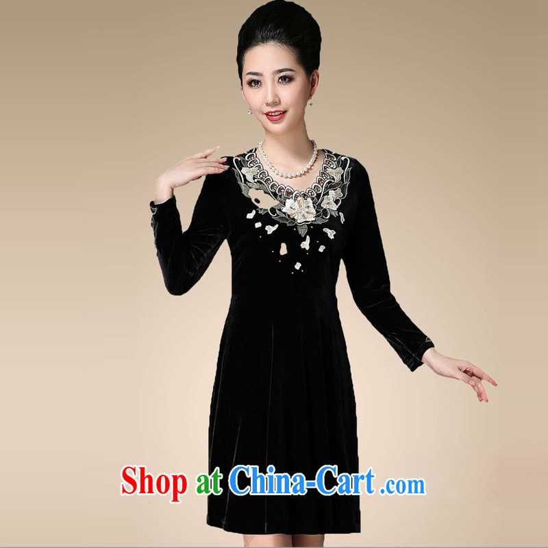 Sunflower Japanese China wind the wool embroidery Pearl nails in older mothers with long-sleeved large code elegance double-yi skirt Q 1326 black XXXXL