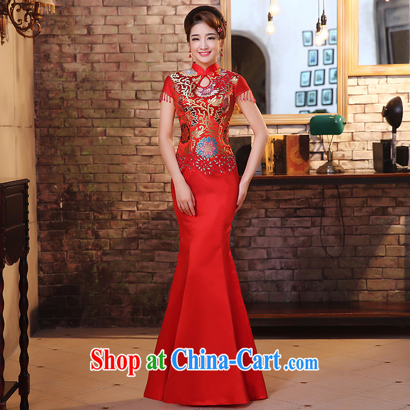 The United States and the dresses 2015 new marriages long crowsfoot red toast serving retro improved lace Chinese Dress Q 0029 red XL