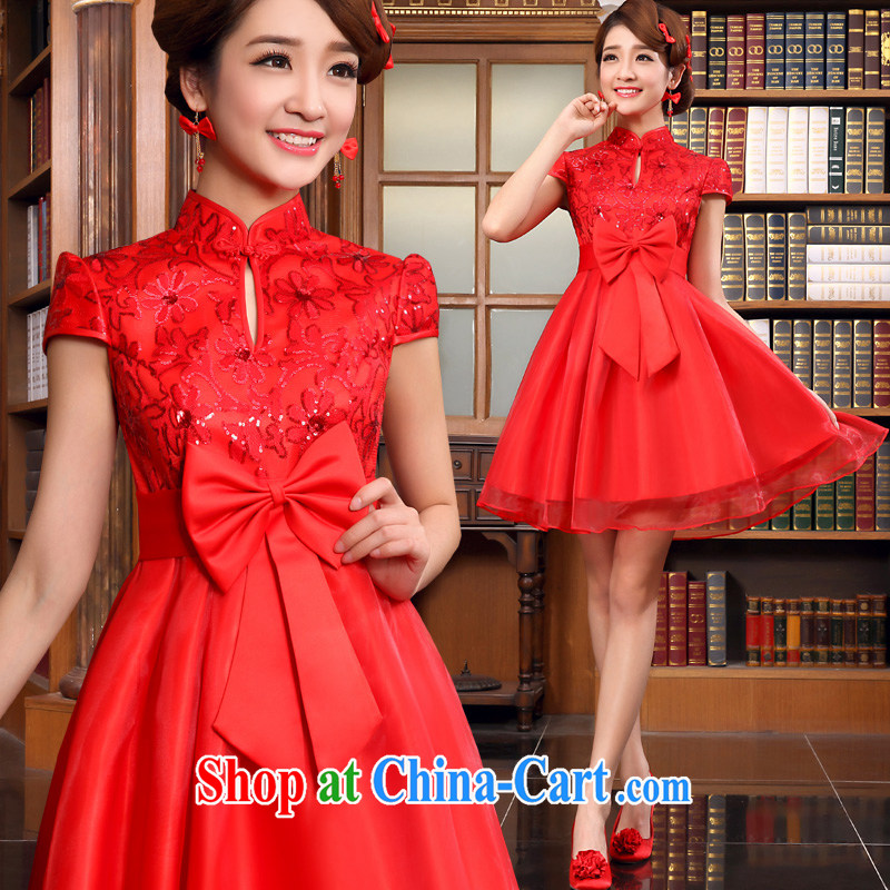 A good service is 2015 New Spring Summer bridal wedding dresses short dresses serving toast red high waist pregnant short-sleeved, M