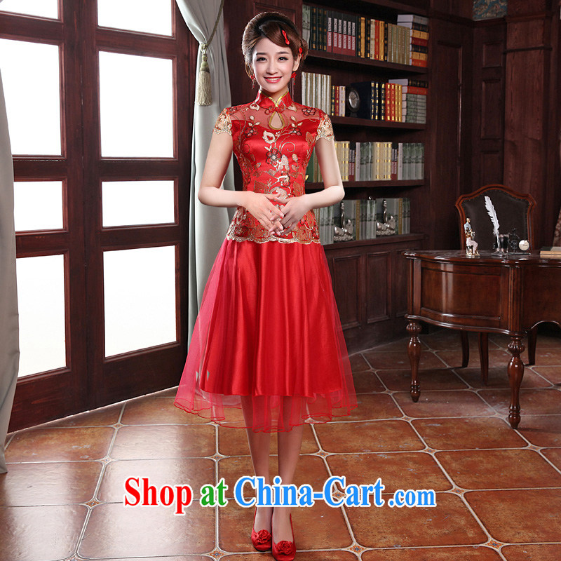 A good service is 2015 new autumn red bride Chinese bride dress wedding dresses short dresses, bows serving short-sleeved short dress M - 5 day shipping