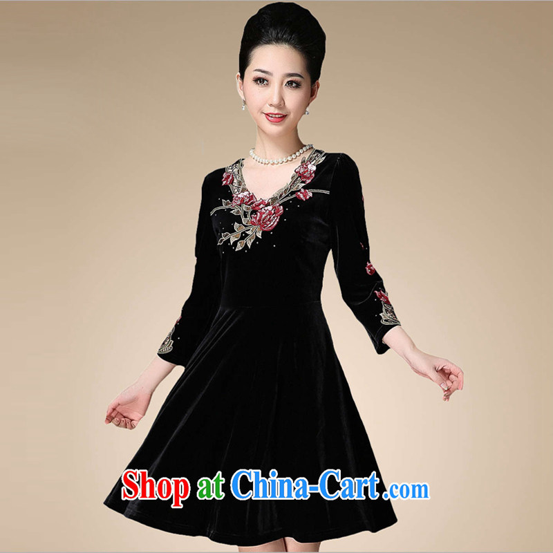 Sunflower Japanese China wind retro elegant ladies embroidered 9 sub-cuff gold velour in the old code-yi skirt Q 0676 black XXXXL