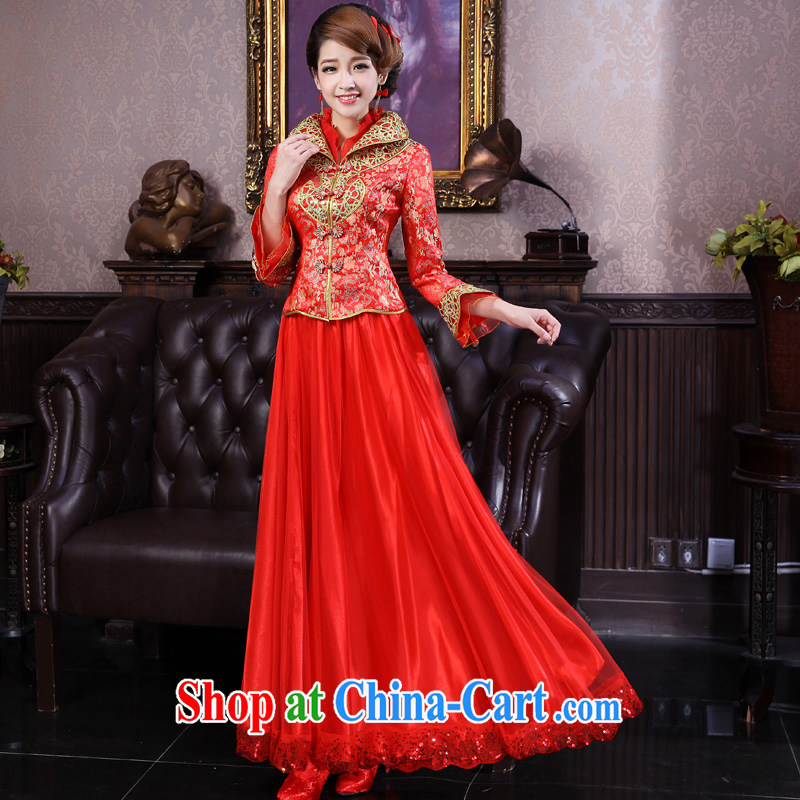 A good service is 2015 Spring Summer bridal red wedding dresses larger thick MM cheongsam toast 9 serving the cuff, XL