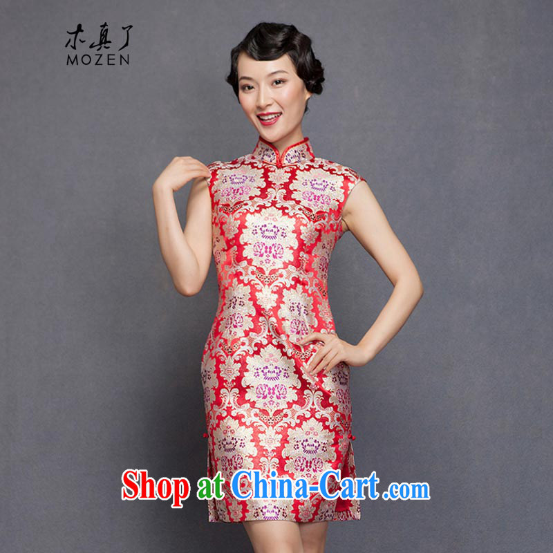 Wood is really the 2015 spring new elegant Silk Cheongsam beauty dress bridal wedding dress toast 21,890 05 light red XL