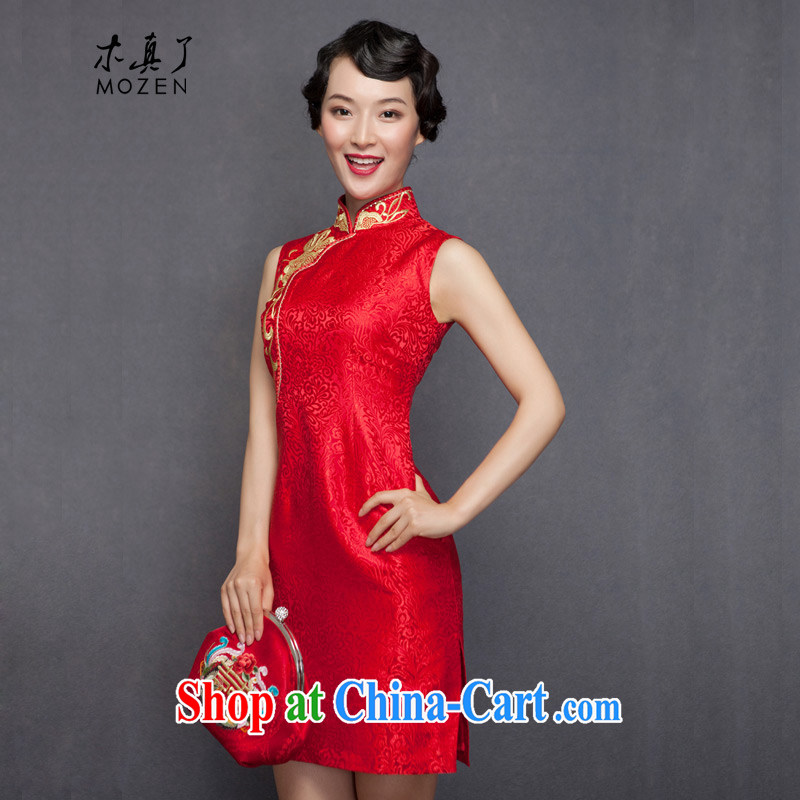 Wood is really the 2015 spring new embroidery Silk Cheongsam dress brides with marriage bows dress 32,488 04 deep red XL