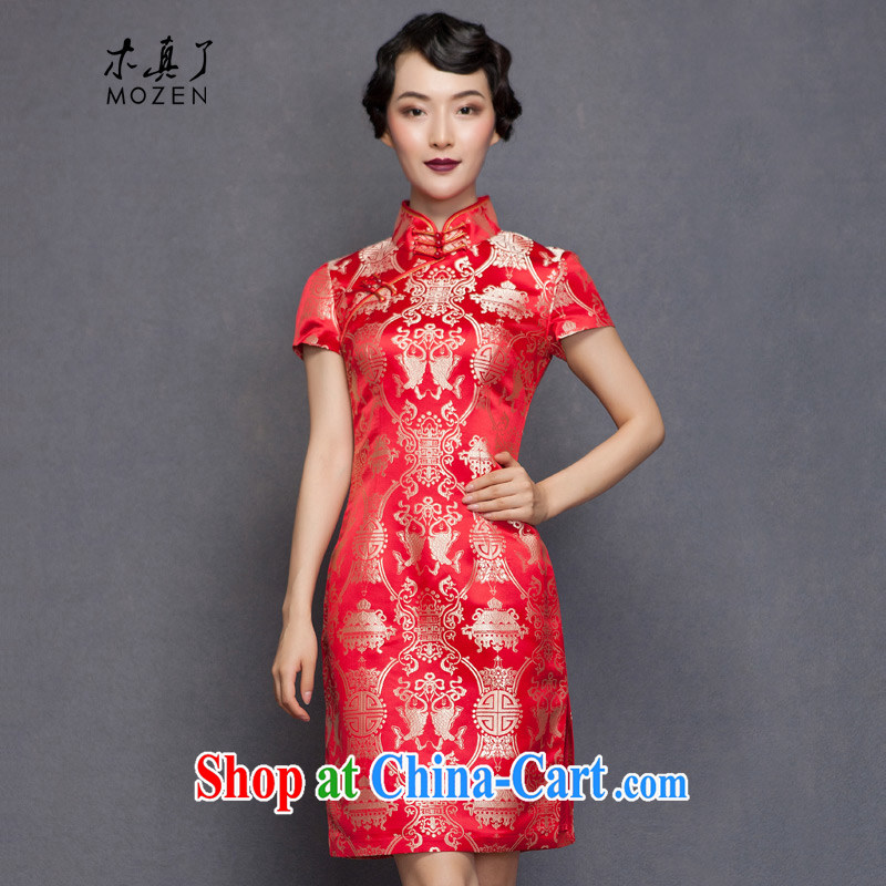 Wood is really the 2015 spring new Silk Cheongsam dress brides with marriage bows dress 32,651 04 deep red XXXL