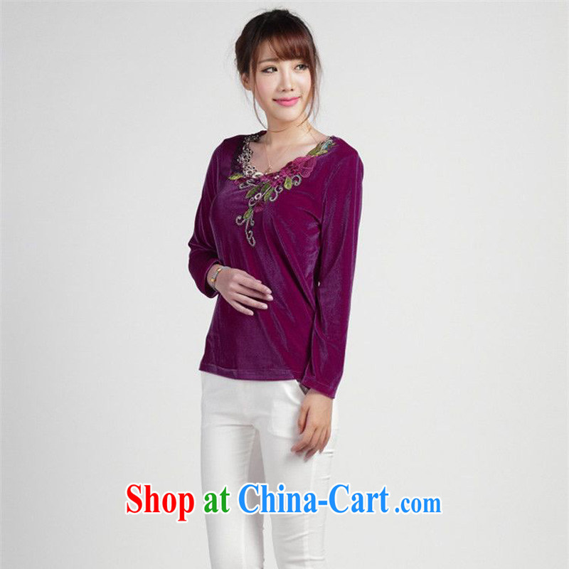 Tze-The 2014 autumn and the new Chinese T-shirt loose the code the velvet stamp T pension SYM - 904 photo color XXXL