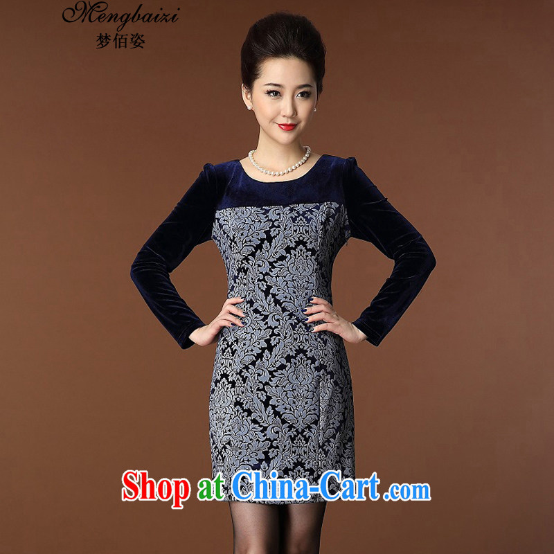 Let Bai Colorful spring 2015 new, larger female dresses style graphics thin long-sleeved burned flower girl with gold velour cheongsam QP _944 dark blue XXL