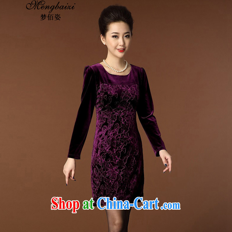 Let Bai colorful 2015 new, older dresses temperament the code graphics thin round-collar long-sleeved gold velour cheongsam QP 942 _purple XXL