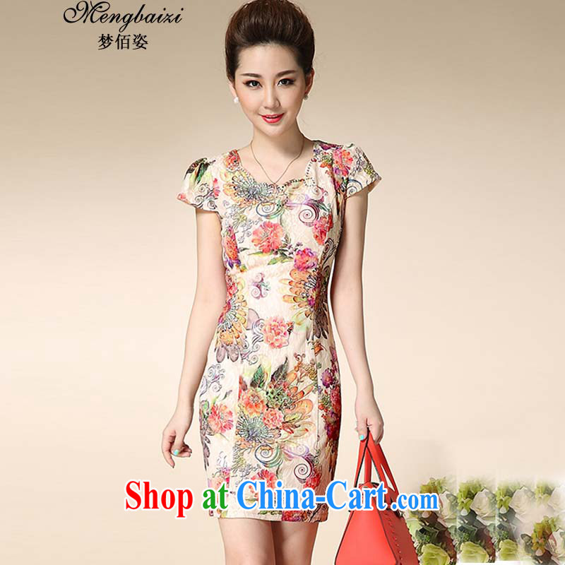 Let Bai colorful 2015 summer fashion cheongsam dress retro improved stamp dresses QP 941 _all the Peony 3 XL retro