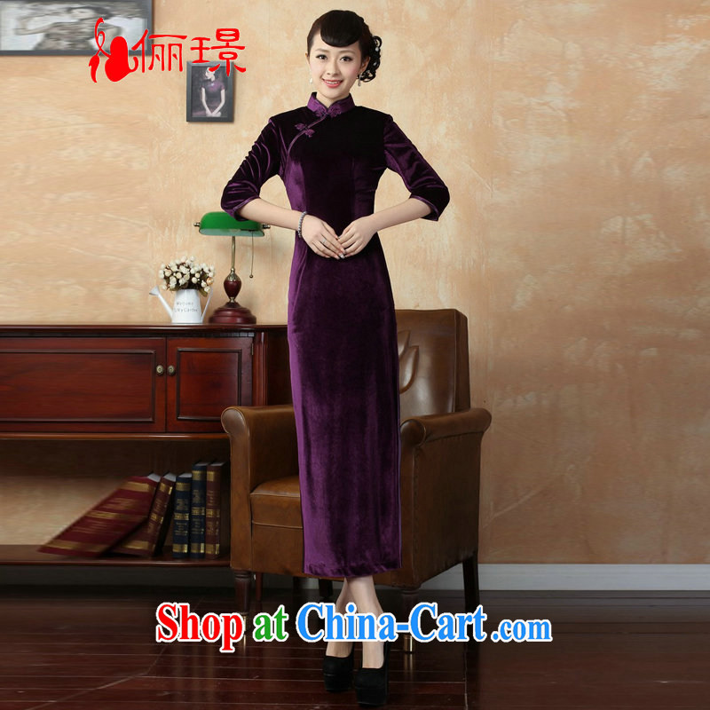 An Jing Chinese improved cheongsam dress long skirt-stretch-velvet cheongsam 7 Cuff - B violet L