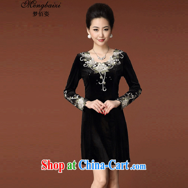 Let Bai beauty 2015 new, larger female skirt embroidered long-sleeved gold velour style beauty dresses QP #948 black 4 XL