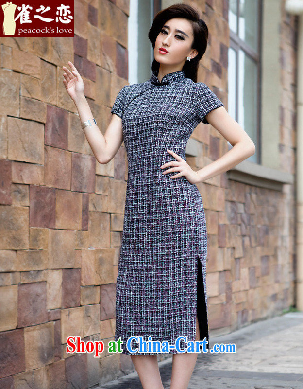 Birds of the land take a garden 2015 spring new retro long, so gross cheongsam dress black-and-white checkered XL