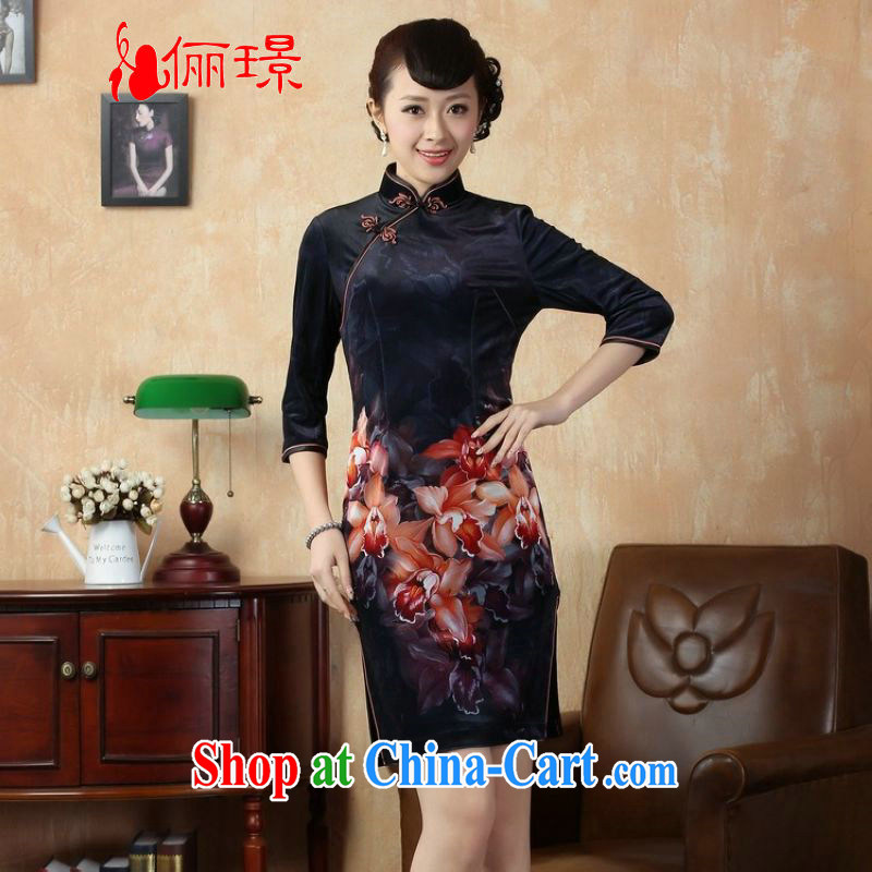 Allow Ms. Jing cheongsam dress dresses stretch gold velour painting stylish classic in short sleeves cheongsam dress dark blue 2 XL