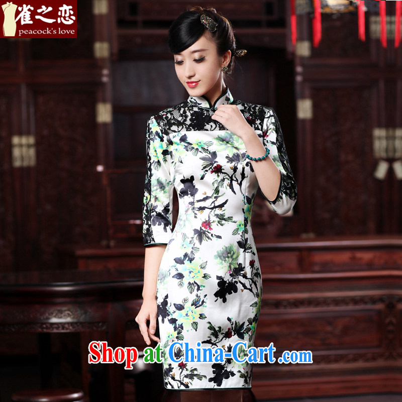 Bird lovers of light, spring 2015 the new cheongsam dress improved stylish lace stitching 7 short sleeves, silk cheongsam as XXL