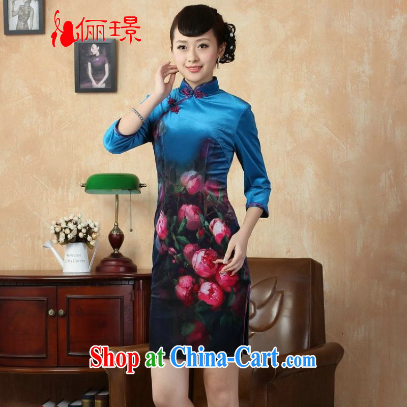 Jing An improved gold velour painting stylish classic in short sleeves cheongsam, qipao gown dresses the cyan 2XL