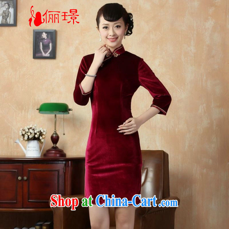 Again, Ms. Jing cheongsam dress dress solid color-stretch is really plush robes 7 cuff wine red 2 XL