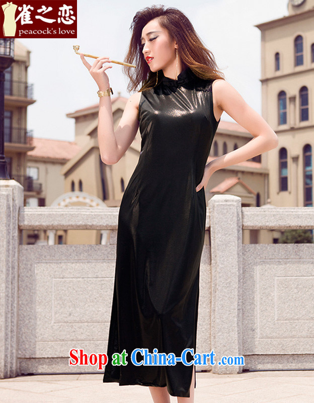 Bird lovers of animated music spring 2015 THE NEW classic style beauty improved long cheongsam QD 576 black XL
