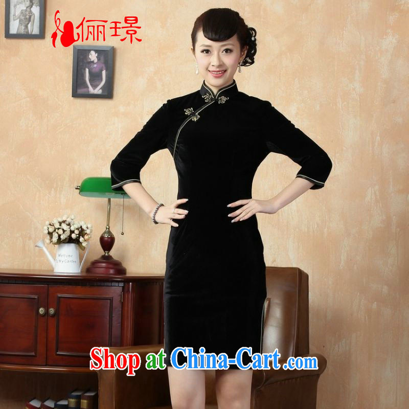 Allow Ms. Jing improved cheongsam plain-color-stretch-velvet cheongsam 7 Cuff - A black 2 XL