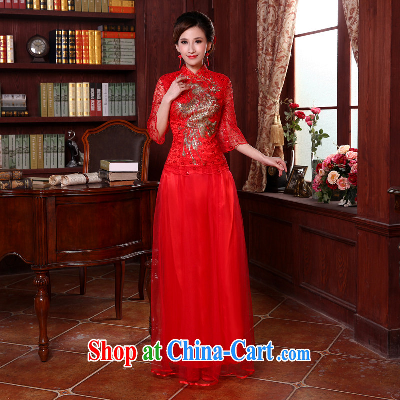 Honey, bride 2015 New Long lace improved cheongsam Chinese dresses bridal wedding toasting two piece bridal red XXL