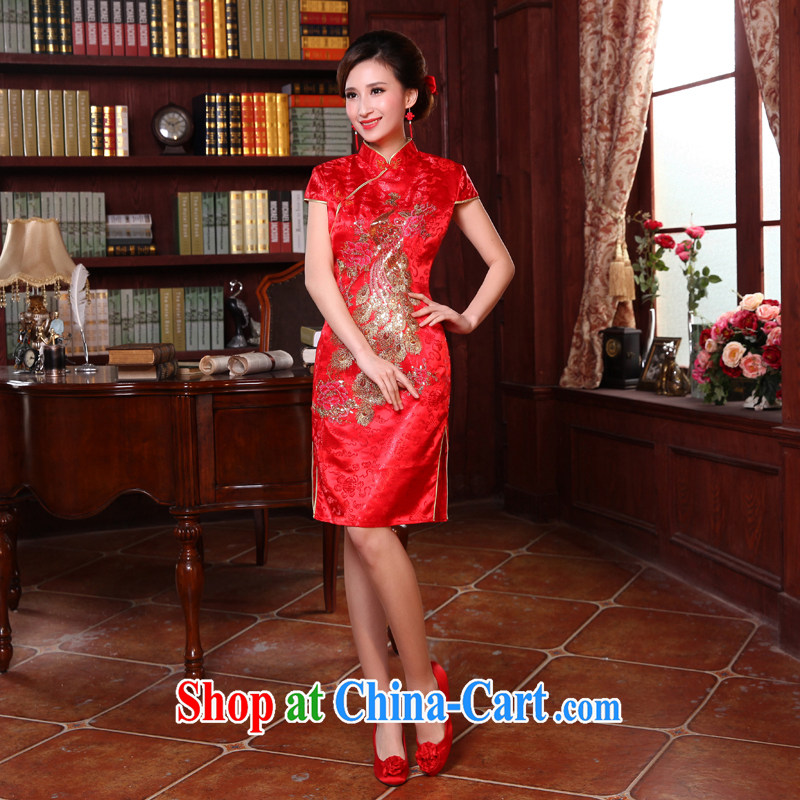 Honey, bride 2015 new short-sleeved Chinese improved cheongsam marriages served toast short Evening Dress bride dress with red XXL