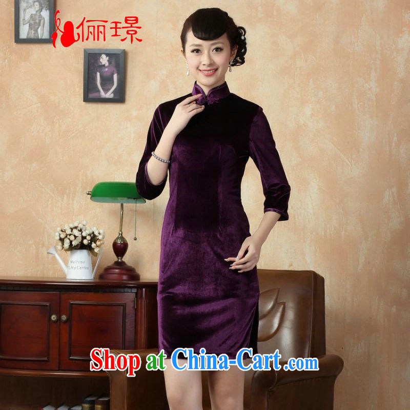 Miss Au King contributed new Pure color-stretch-velvet cheongsam 7 Ms. cuff cheongsam dress - B violet 2 XL