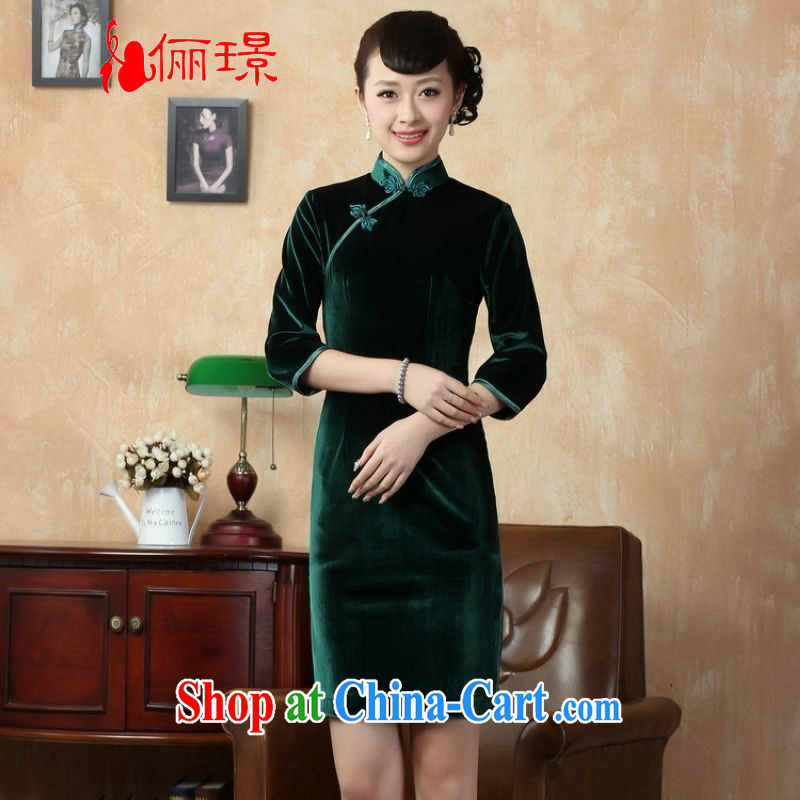 An Jing Chinese improved cheongsam dress solid color-stretch-velvet cheongsam 7 Cuff - C green 2 XL