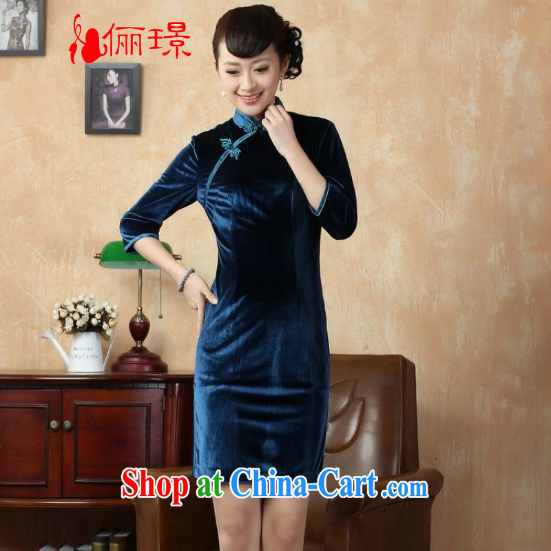 Jing An 7 sub-cuff cheongsam dress dresses-stretch-wool dresses - D the cyan 2XL