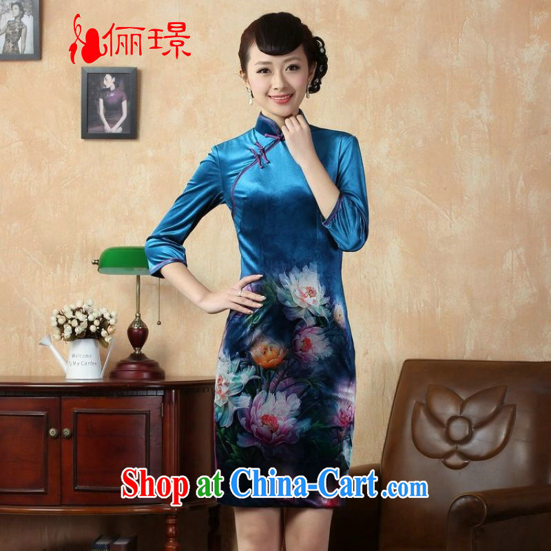 Allow Ms. Jing cheongsam dress dress improved stretch gold velour poster 7 cuff peony flower cheongsam picture color 2 XL