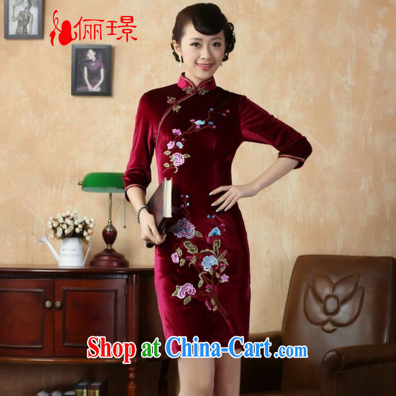 Allow Ms. Jing cheongsam dress dresses, for stretch the silk embroidered Phillips in short sleeves cheongsam aubergine 2 XL