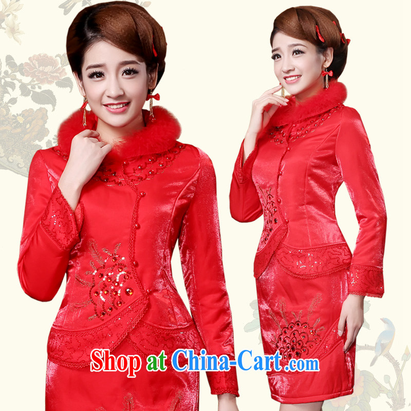 Service was good in 2015 autumn and winter new cotton with Chinese brides wedding dress short red dresses serving toast red XL
