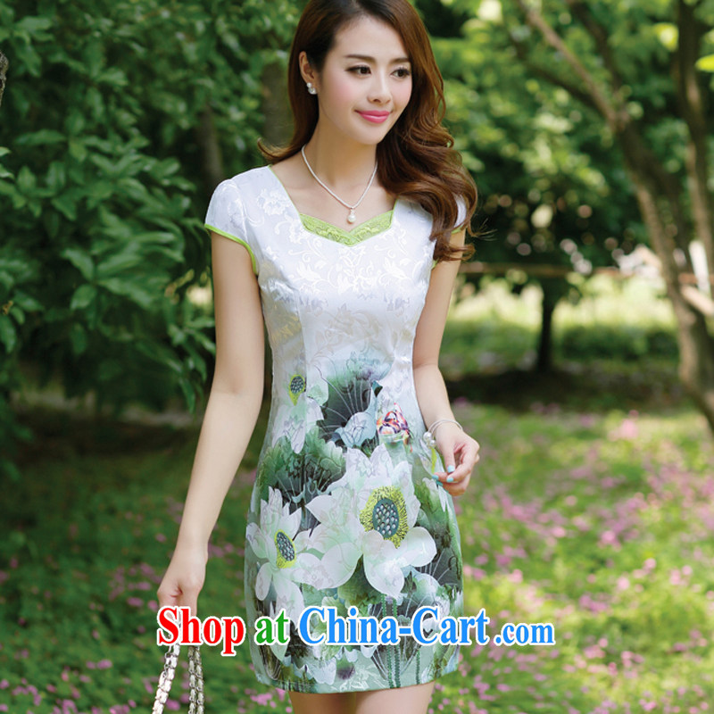 The beautiful valley summer 2015 New Beauty stamp elegant Chinese style cheongsam dress dresses female Green XXXL