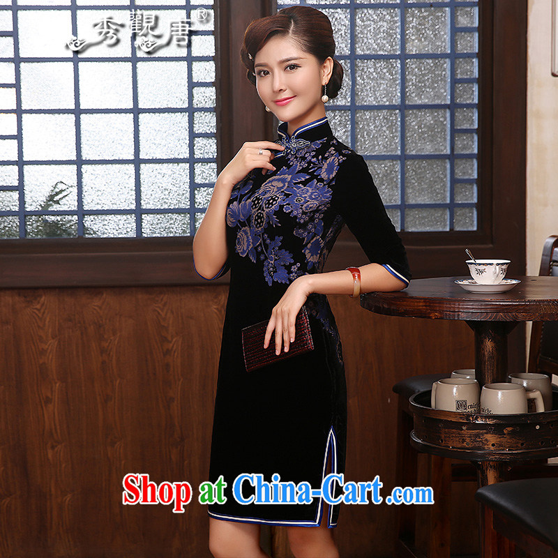 The CYD HO Kwun Tong' blue dream 2015 spring new wool dresses, mother cuff with retro dress qipao QZ 4817 black XXL