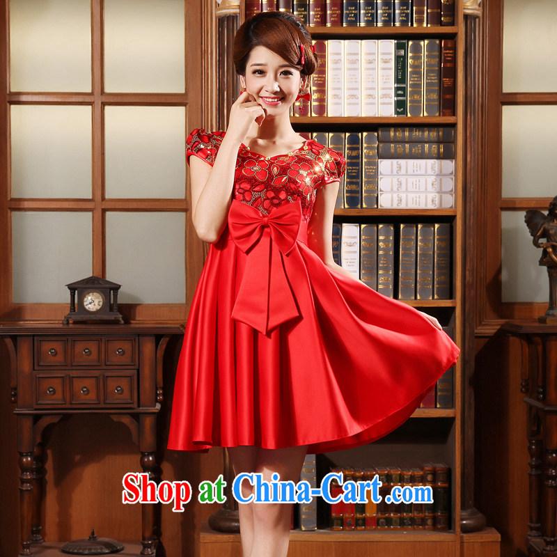 A good service is a 2015 new spring and summer red bridal wedding dress high waist pregnant short cheongsam toast serving short-sleeved 2XL