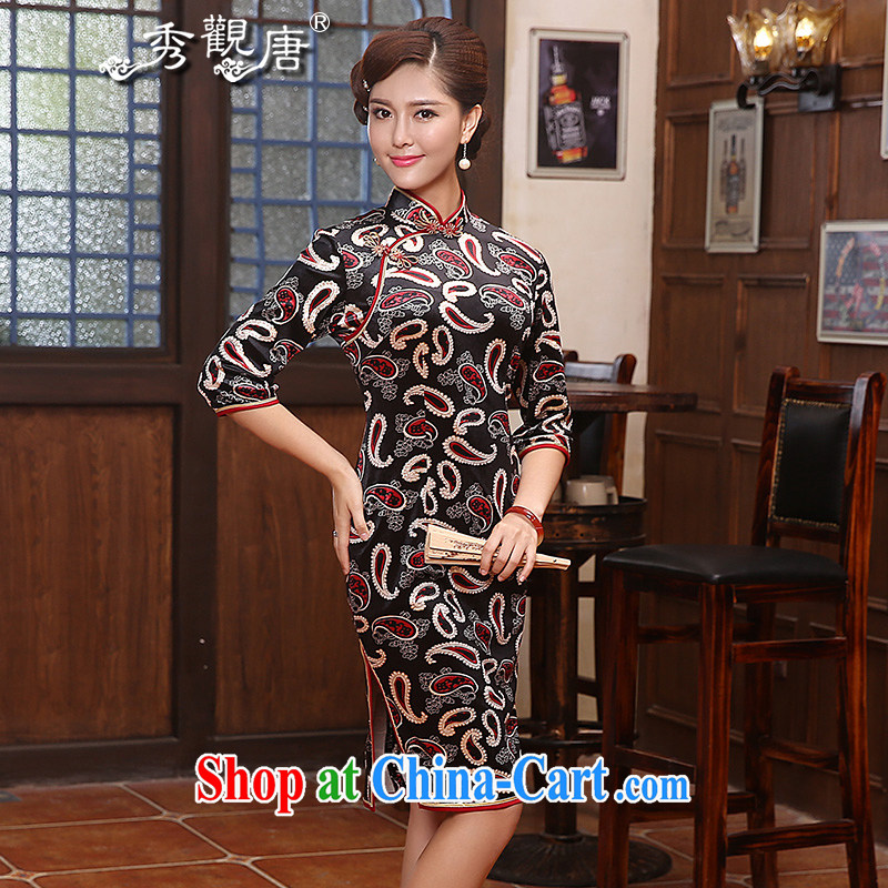 The CYD HO Kwun Tong' star Hyatt spring cuff in velvet dresses retro 2015 New Beauty aura QZ dress suit 4814 XXL