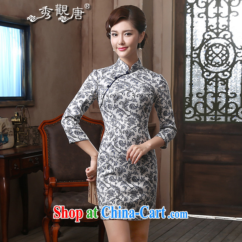 The CYD HO Kwun Tong' Air Suspension Spring, long-sleeved improved cheongsam 2015 new retro beauty dresses QZ 4816 blue-and-white XXL
