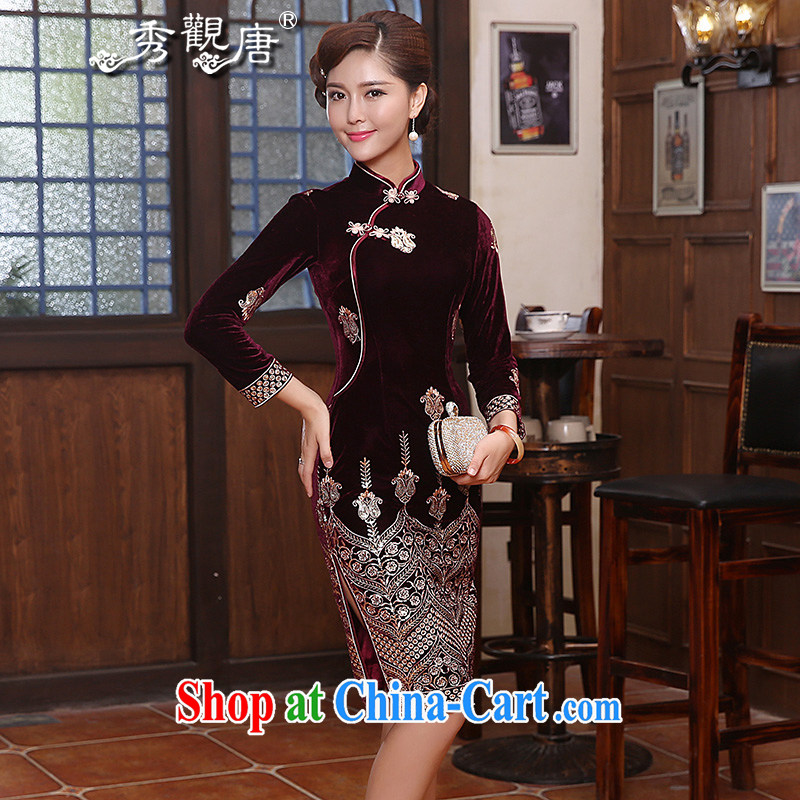 The CYD HO Kwun Tong Jin, noble wool dresses 2015 spring new, long-sleeved retro dress skirt QC 4818 wine red XL
