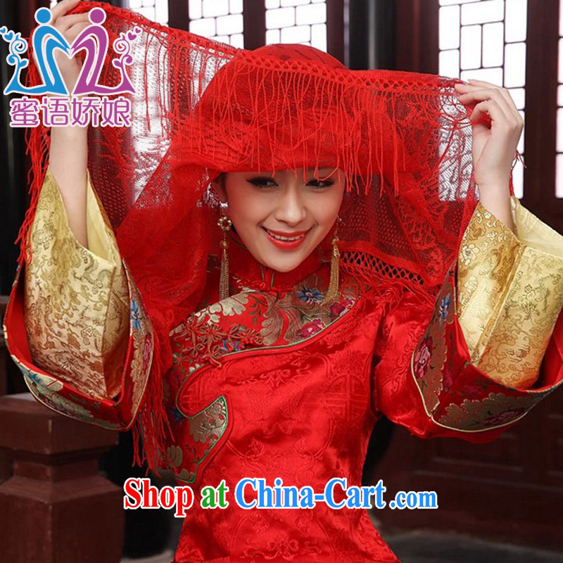 Honey, bride Chinese wedding bridal red cap head cover head bridal scarf shawl lace and legal marriage supplies red