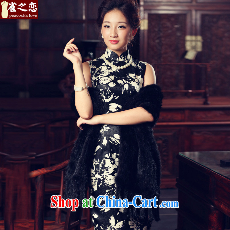 Birds love night drunken Fang Yan 2015 spring new classic Stylish retro short sleeveless Silk Cheongsam as S