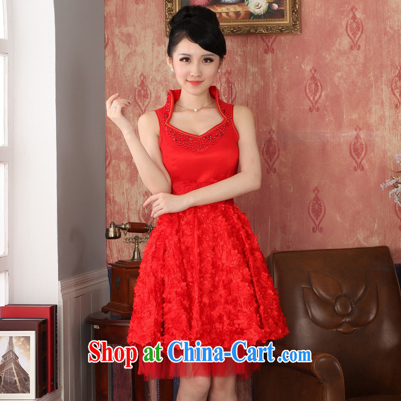 2014 new marriage red bridal toast serving small dress short skirt and stylish dresses maternity bridesmaid dress female XXL